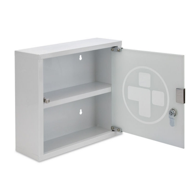 Metal Wall Cabinet With Gl Door Lockable Small 300 X 120mm Rl3090