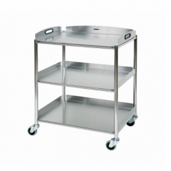 Sunflower Surgical Trolley 66cm, 3 Stainless Steel Trays (Sun-ST6S3)