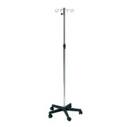 Sunflower Chrome Steel IV Drip Stand, Plastic Base, 4 Metal Hooks (Sun-IV02)