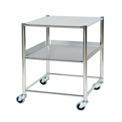 Sunflower Surgical Trolley 66cm, 1 Stainless Steel Tray, 1 Shelf (Sun-ST6S2SF)