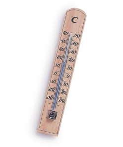 Albert Waeschle Wall Thermometer, Dual Graduated, Wooden (96.17.000)