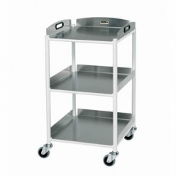 Sunflower DT4 Dressing Trolley 46cm, 3 Stainless Steel Trays (Sun-DT4S3)