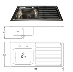 Sunflower HTM64 Compliant Inset Stainless Steel Sink, Right Hand Drainer (Sun-SNK24)