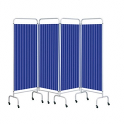 Sunflower Four Panel Screen with Disposable Curtains - Summer Blue (Sun-MFS4/DCSB)